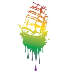 Frigate Ship Grunge2 vector image