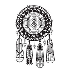 Indian dream catcher with ethnic ornaments and vector