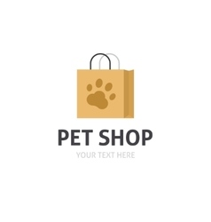 Petshop logo isolated bag with pet shop vector image vector image