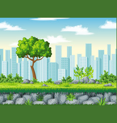 seamless cartoon background with separate layers vector image