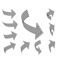 set of arrow icons dotted halftone graphic vector image