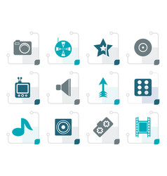 stylized entertainment icons vector image