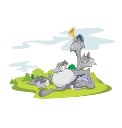 Wolf and Sheeps on Grass vector image vector image