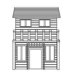 wooden house icon vector image vector image