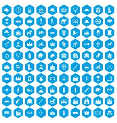 100 horsemanship icons set blue vector