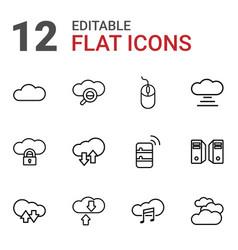 12 computing icons vector image
