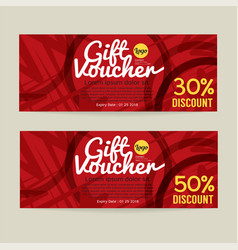 30 - 50 percent discount voucher template vector