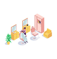 3d isometric barbershop with client man vector