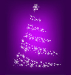 abstract christmas tree of snowflakes on a purple vector image