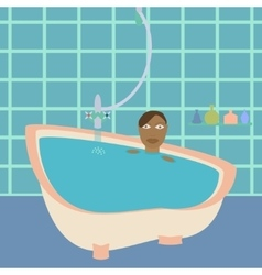 African american female in bathroom vector image