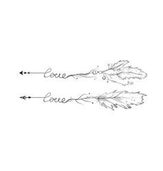 arrow hand drawn set love lettering arrows vector image