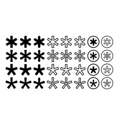 Asterisk footnote star note collection set vector