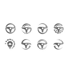 Automobile steering wheels set abstract icons vector