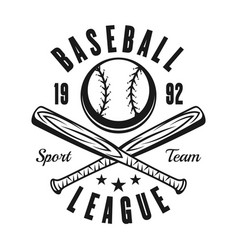 ball and two baseball bats vintage black emblem vector image