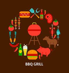 bbq grill postcard vector image