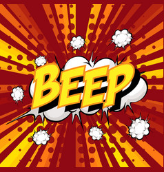 Beep wording comic speech bubble on burst vector