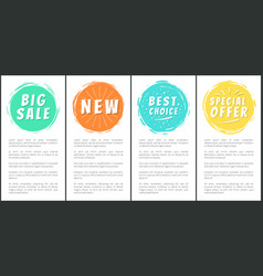big sale new special offer best choice set labels vector image