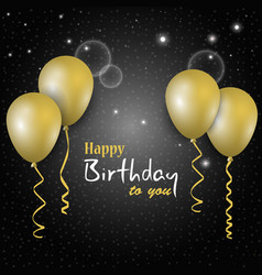 birthday dark poster with golden balloons in the vector image