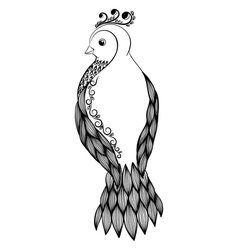 Black-and-white bird in floral style vector