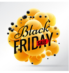 black friday design with bright yellow spheres vector image