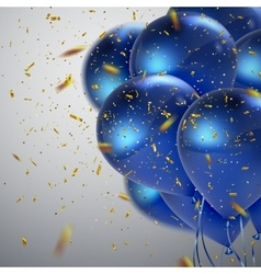 Blue balloons and golden confetti vector