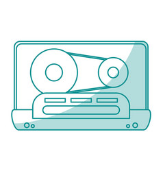 Blue shading silhouette of tape cassette vector