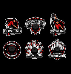 Bowling logo and badge set image vector