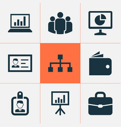 Business icons set collection of hierarchy vector