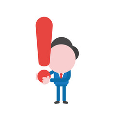 businessman character holding exclamation mark vector image