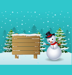 cartoon christmas snowman with wooden sign and pin vector image