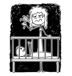 cartoon dead tired mother entertaining bain vector image