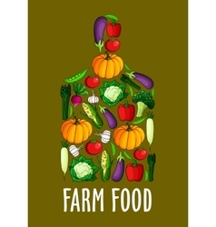 Chopping board sign with farm fresh vegetables vector