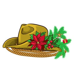 Christmas cowboy hat and holiday elements vector