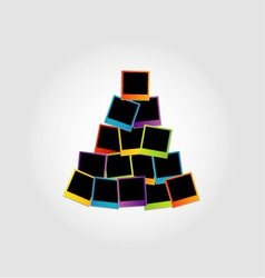 Christmas tree with colorful polaroids vector
