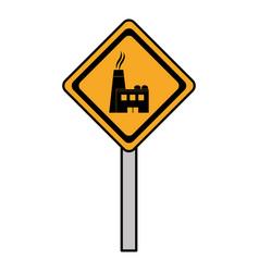 color diamond caution emblem factory pollution vector image