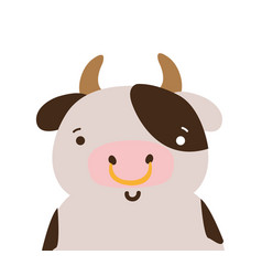 Colorful adorable and happy cow wild animal vector