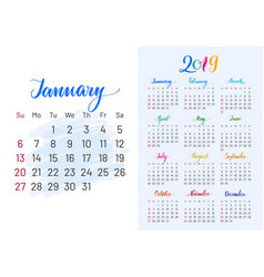 Colorful planner 2019 january separately vector