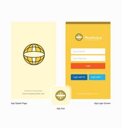 company globe splash screen and login page design vector image