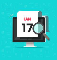 Computer with calendar date magnifier glass vector