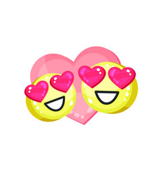 couple of cute emoticons with heart eyes bright vector image