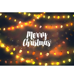 Cozy yellow Christmas lights garlands vector