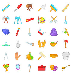 Craft icons set cartoon style vector