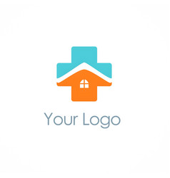Cross medic house hospital logo vector