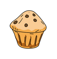 cupcake cartoon hand drawn image vector image