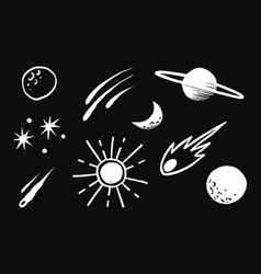 Cute solar system white galaxy doodle sticker vector