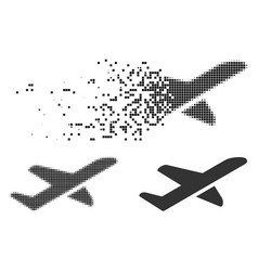 Dust dotted halftone airplane takeoff icon vector