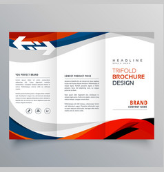 Elegant red and blue wave business tri fold vector