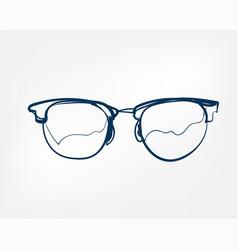 eyeglass frame one line isolated design element vector image