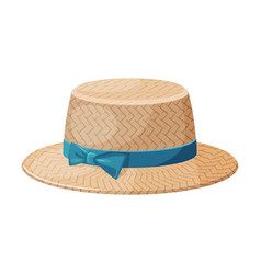 Female straw hat with blue ribbon fashion vector