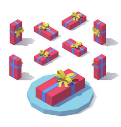 flat horizontal gift box vector image
